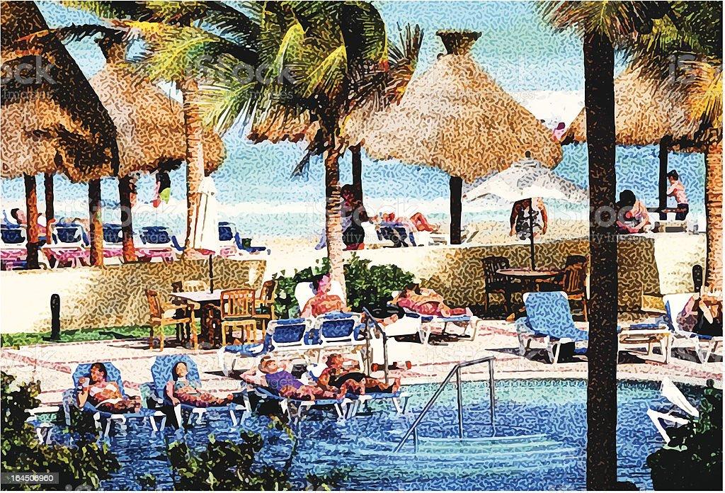Resort Swimming Pool and Beach royalty-free stock vector art
