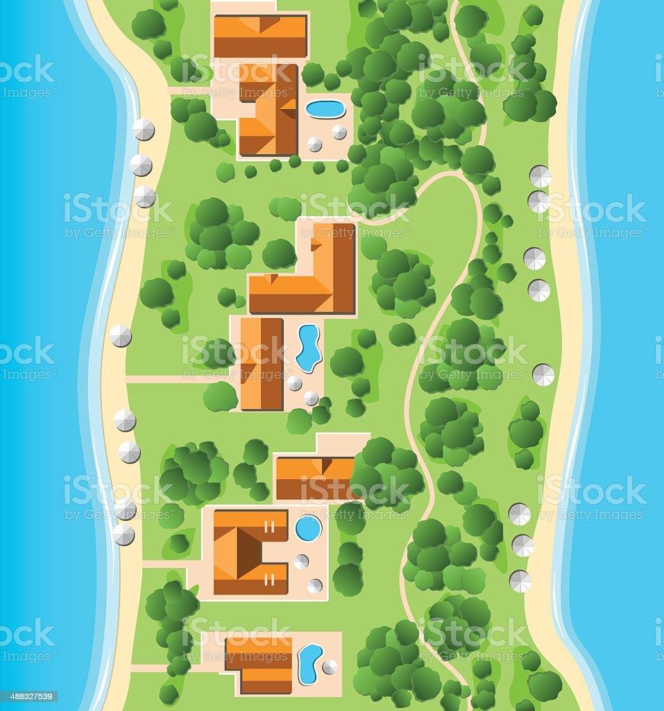 Resort with Coastline vector art illustration