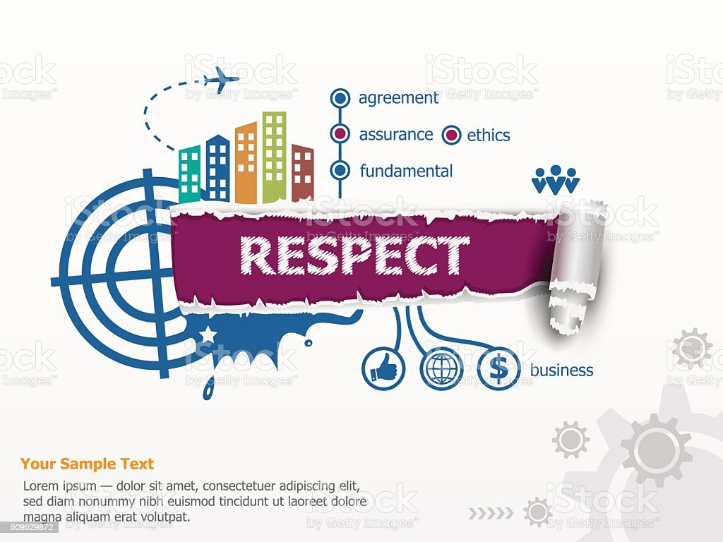 Respect concept and breakthrough paper hole vector art illustration
