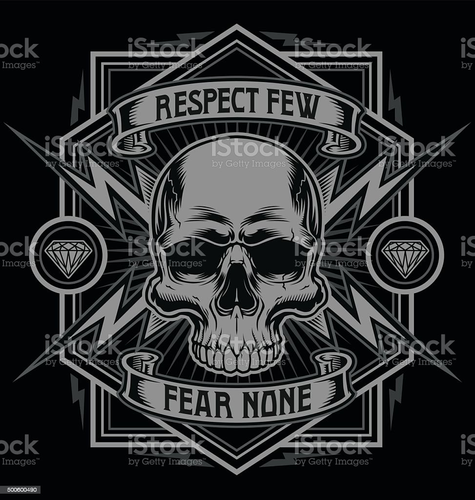 Respect skull with lightning graphic vector art illustration