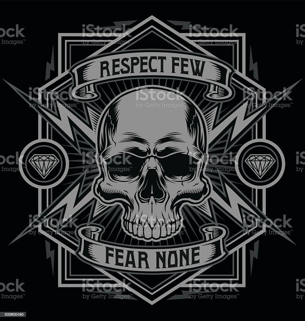 Respect skull with lightning graphic vector art illustration