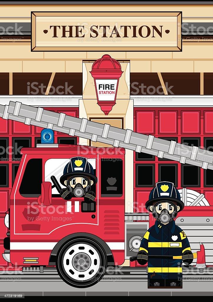 Respo Fireman and Fire Engine Scene vector art illustration