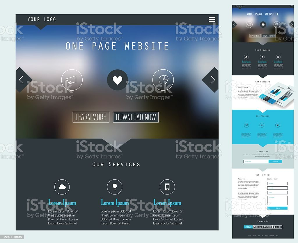 Responsive landing page design template vector art illustration