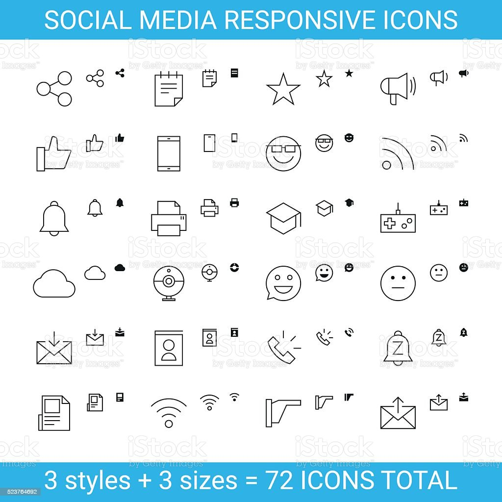 Responsive Social Media Icons set 2 vector art illustration