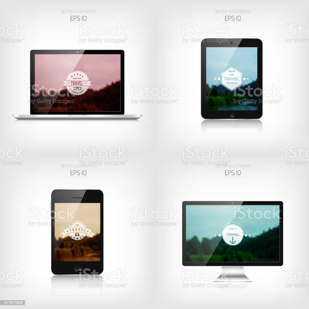 Responsive web design. Adaptive user interface. Digital devises. Laptop, tablet vector art illustration