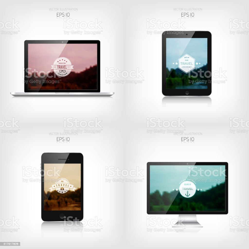 Responsive web design. Adaptive user interface. Digital devises. Laptop, tablet vector art illustration