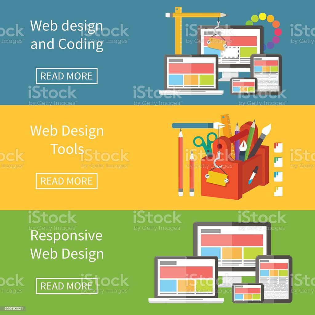 Responsive web design, application development and page construction. vector art illustration