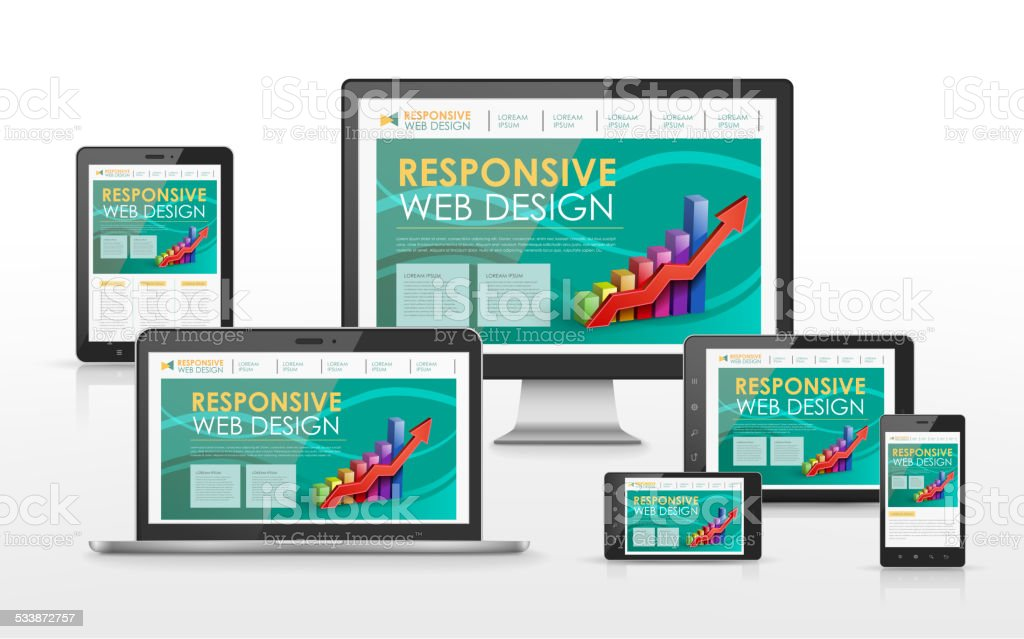 responsive web design concept in different devices vector art illustration