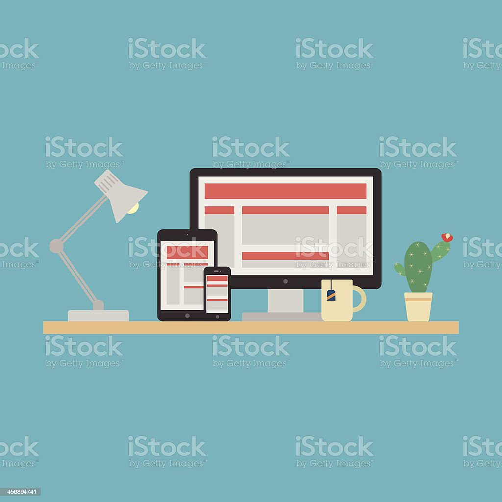 Responsive Web Design Concept. Vector vector art illustration