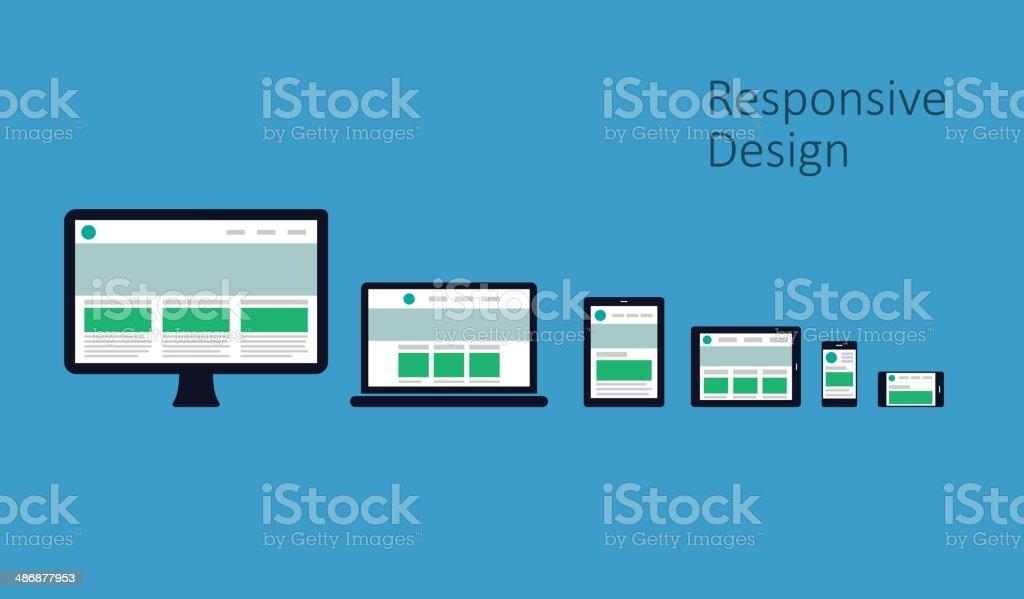 Responsive Web Design - Flat Style Design vector art illustration