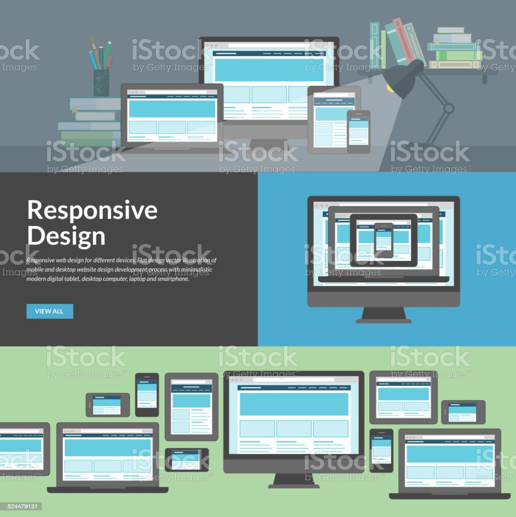 Responsive web design for different devices vector art illustration