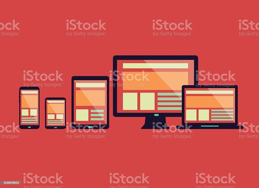 Responsive web design in electronic devices. vector art illustration