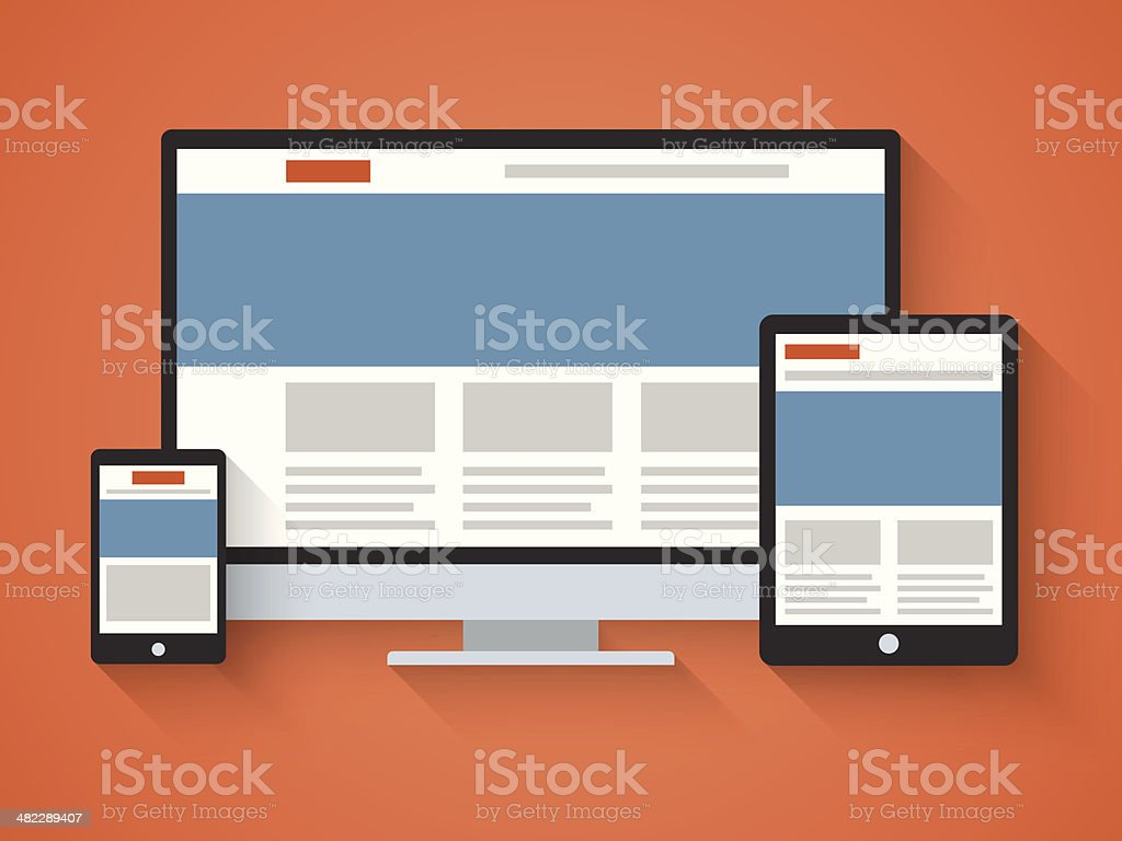 Responsive web design in flat style. vector art illustration