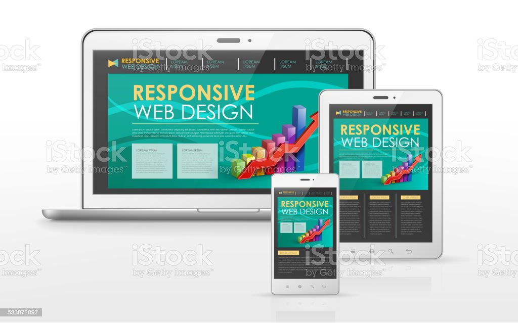 responsive web design in laptop, tablet and smart phone vector art illustration
