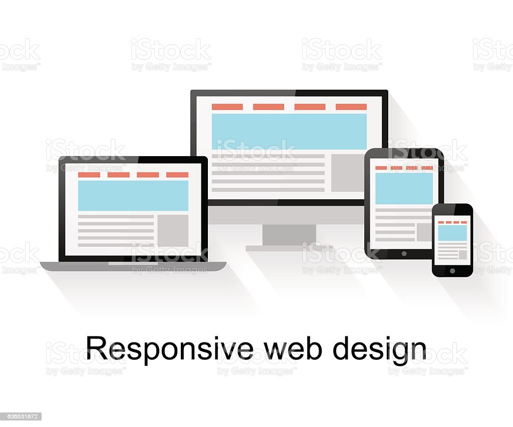 Responsive web design on computer vector art illustration