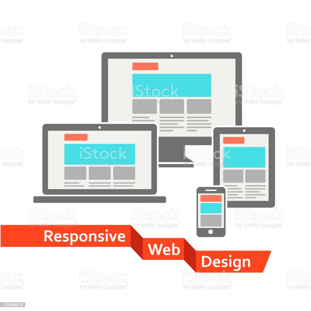 Responsive web design on different devices vector art illustration