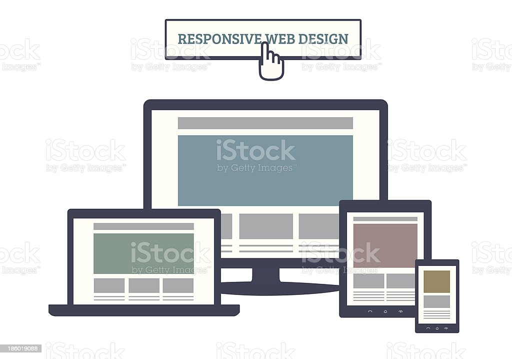 Responsive Web Design vector art illustration