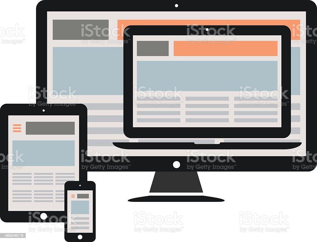 responsive web design vector art illustration