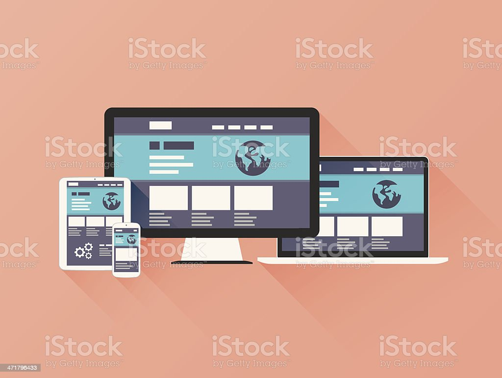 Responsive Web Design vector with flat style and long shadow. vector art illustration