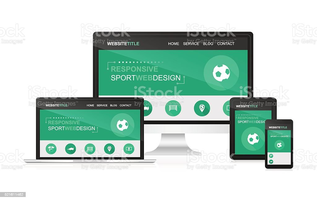 Responsive web design with sport theme. vector art illustration