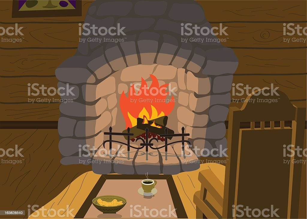 Rest near a fireplace vector art illustration