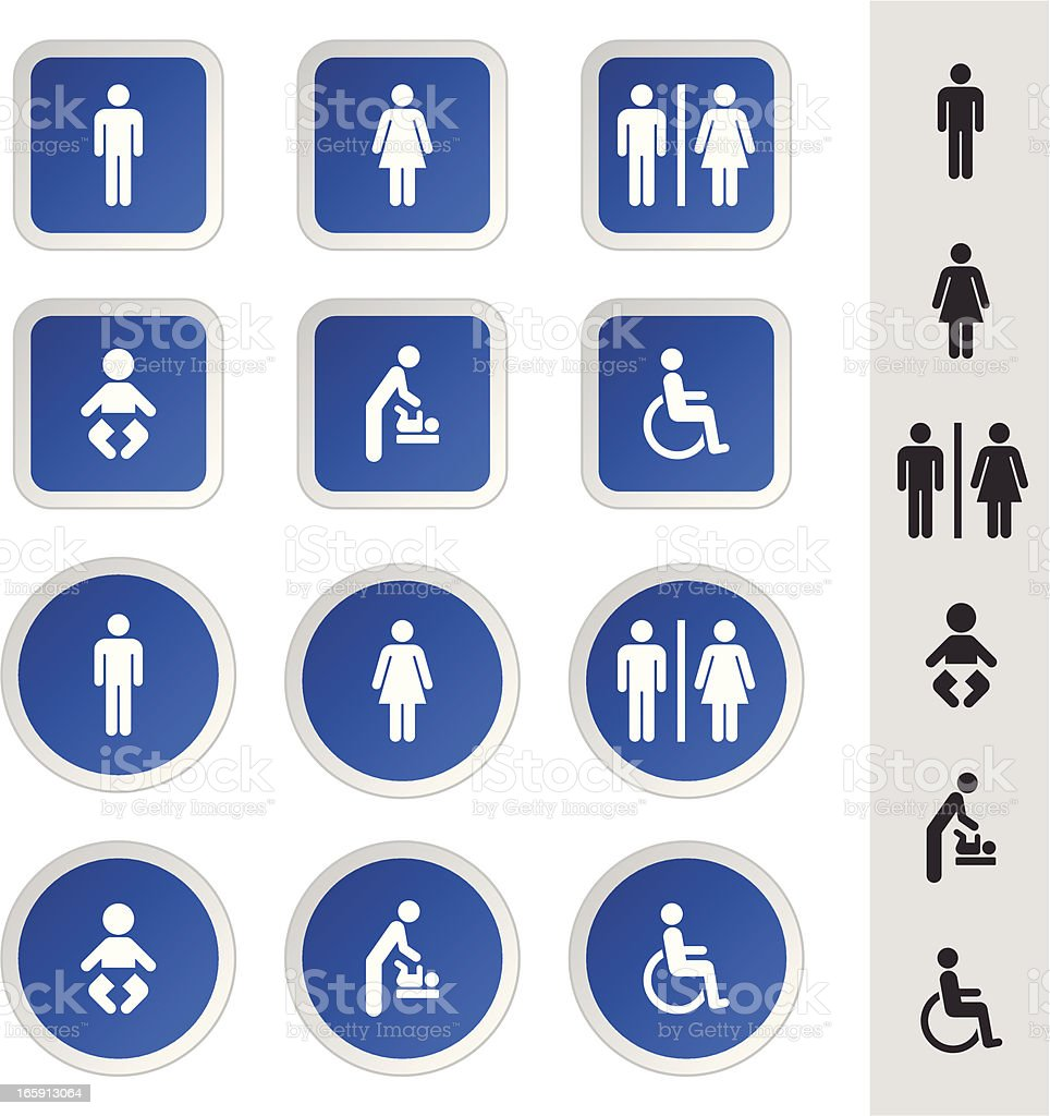 Rest Room Icons Set vector art illustration
