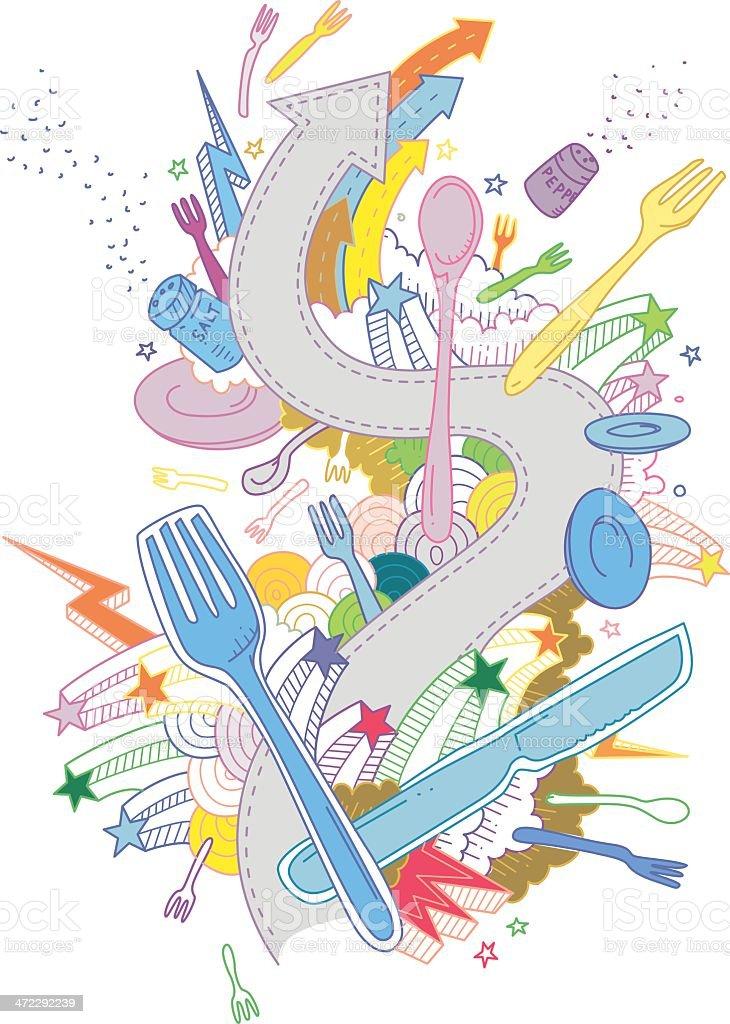 Restarant Doodles royalty-free stock vector art
