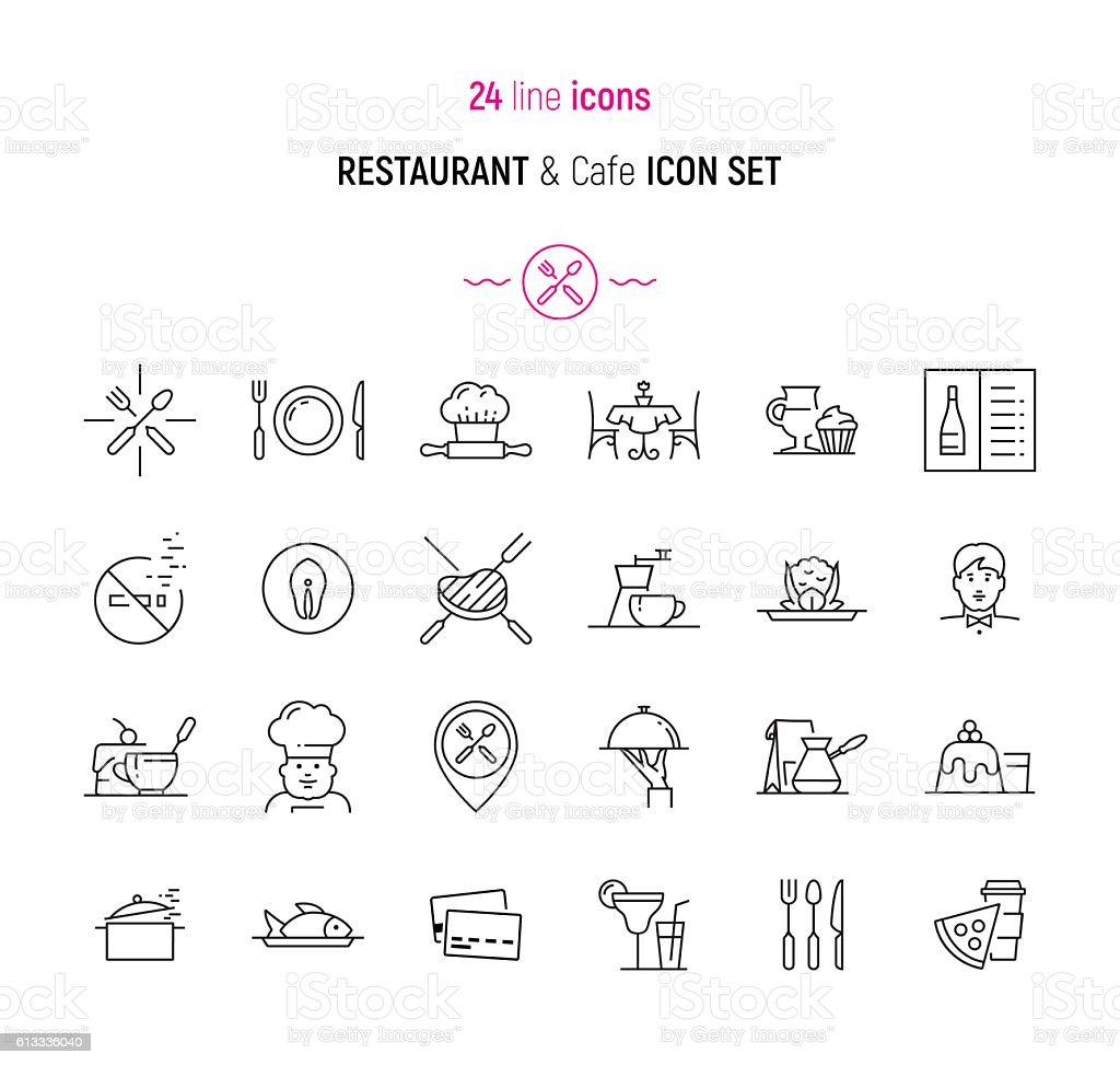 Restaurant and Cafe icon set vector art illustration