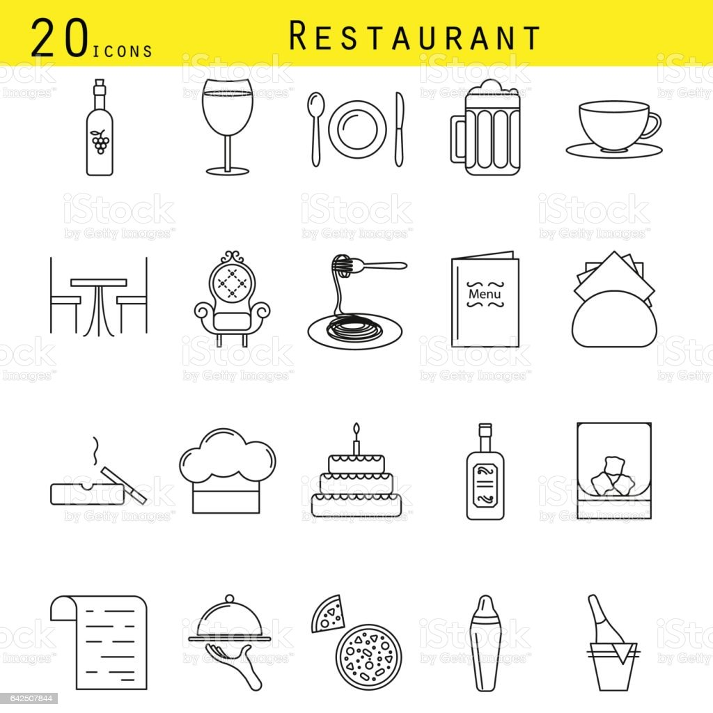 Restaurant and cafe line icon vector set vector art illustration
