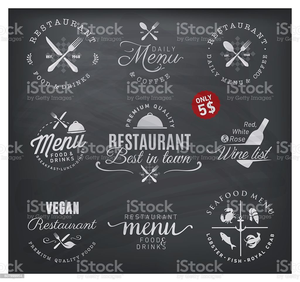 Restaurant Badges and Labels in Vintage Style vector art illustration