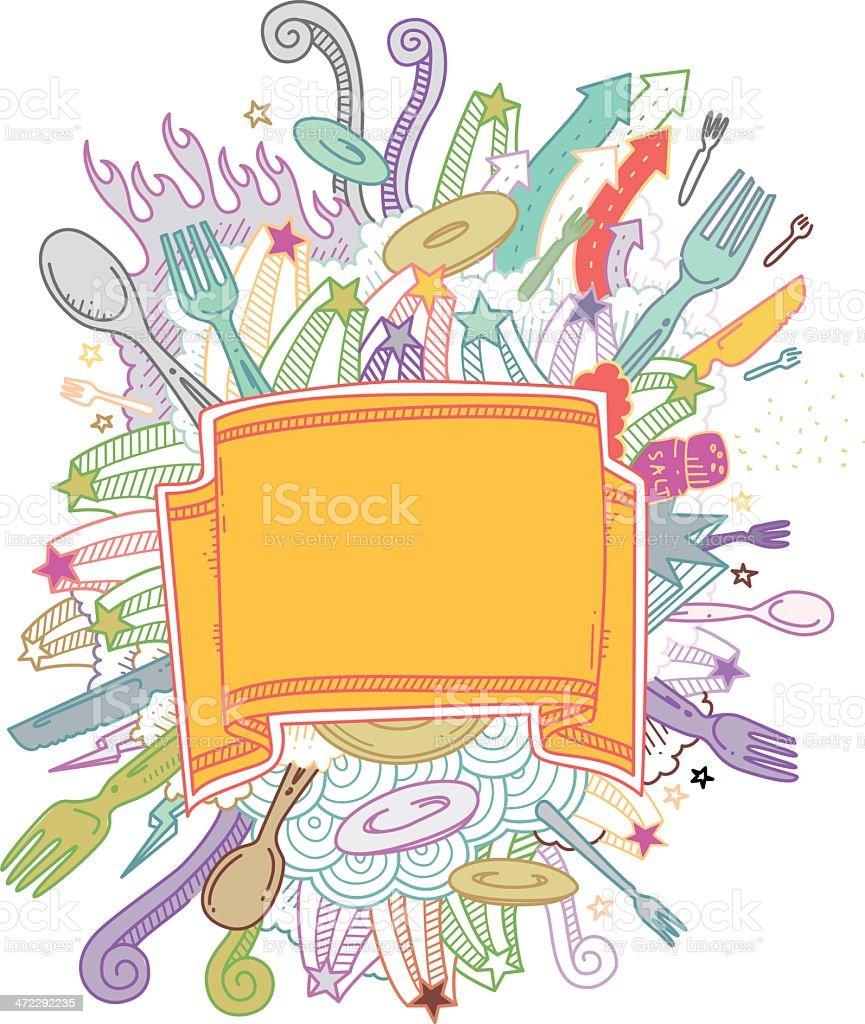 Restaurant Banner Doodles royalty-free stock vector art