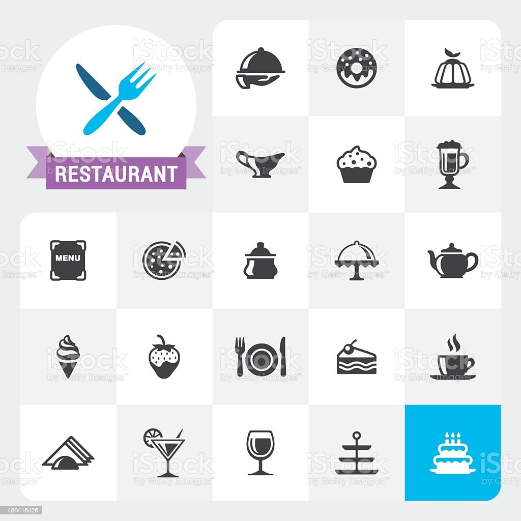 Restaurant base vector icons and label vector art illustration