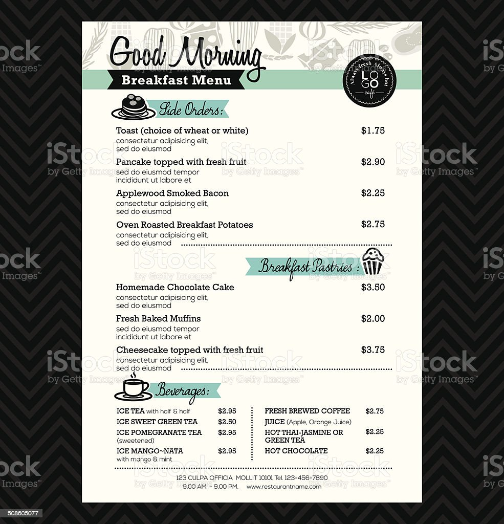 Restaurant Breakfast menu design Template layout vector art illustration