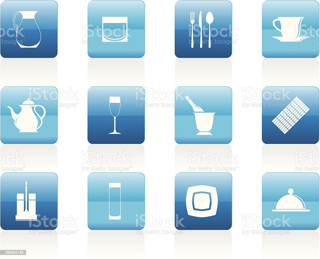 restaurant, cafe, bar and night club icons royalty-free stock vector art