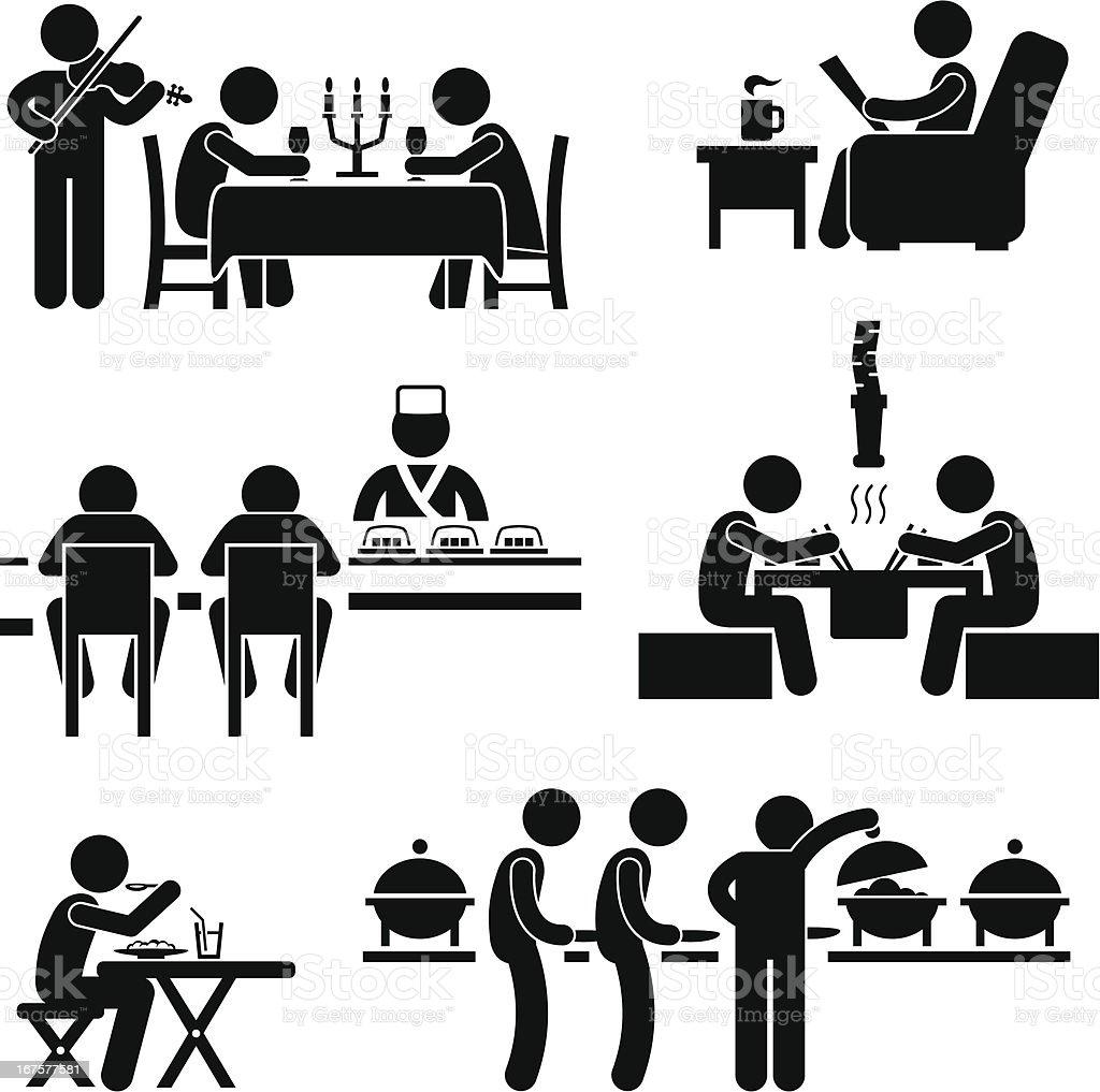 Restaurant Cafe Food Drink Pictogram vector art illustration