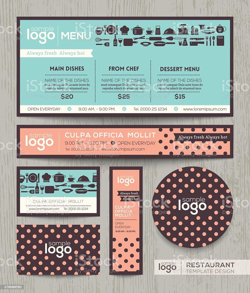 Restaurant cafe menu design template with pastel polka dot pattern vector art illustration