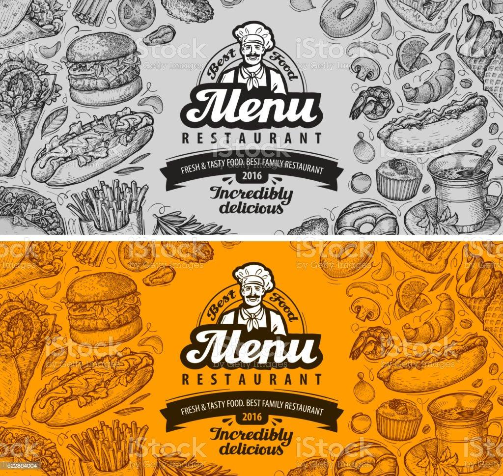 restaurant cafe menu template design. sketch food vector art illustration