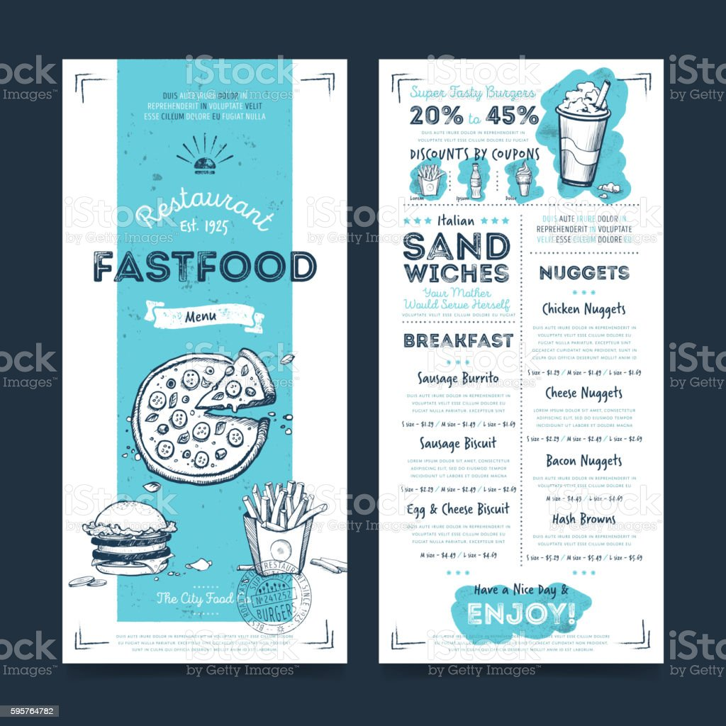 Restaurant cafe menu template design, vector vector art illustration