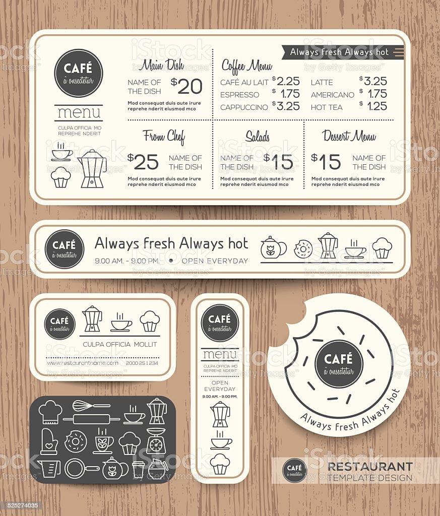 Restaurant Cafe Set Menu Graphic Design Template vector art illustration