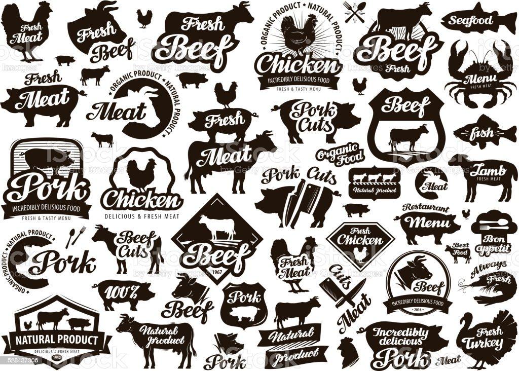 restaurant, cafe vector logo. food, meat or menu, cooking icon vector art illustration