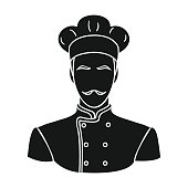 Restaurant chef icon in black style isolated on white background