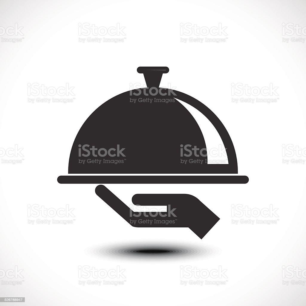 Restaurant cloche in hand the waiter vector art illustration