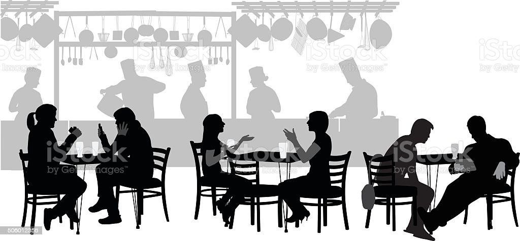 Restaurant Customers vector art illustration