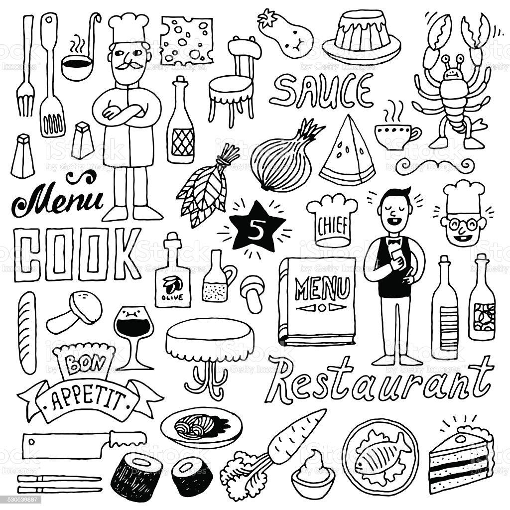 Restaurant doodle set 2. Hand drawn. Vector illustration. vector art illustration