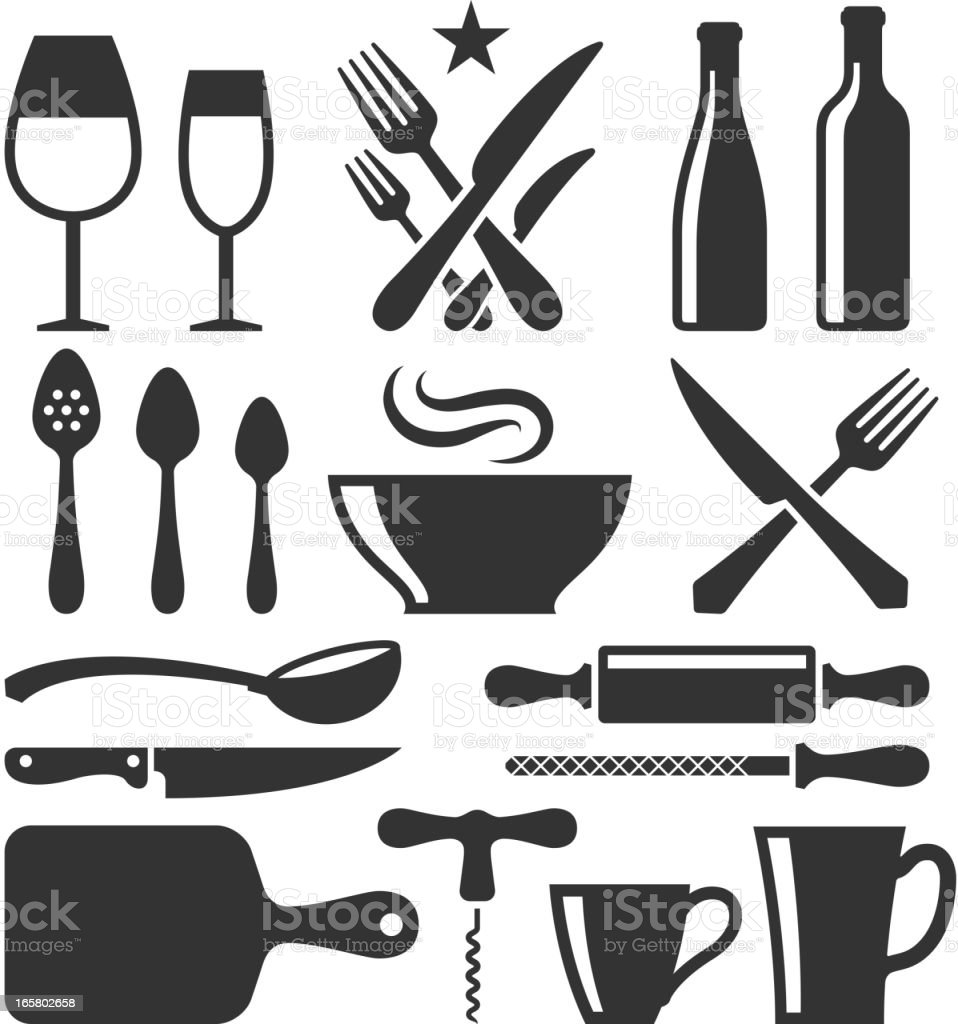 Restaurant emblem and Kitchen Appliances black & white icon set royalty-free stock vector art