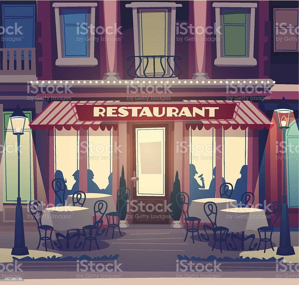 Restaurant facade. Retro style vector illustration vector art illustration