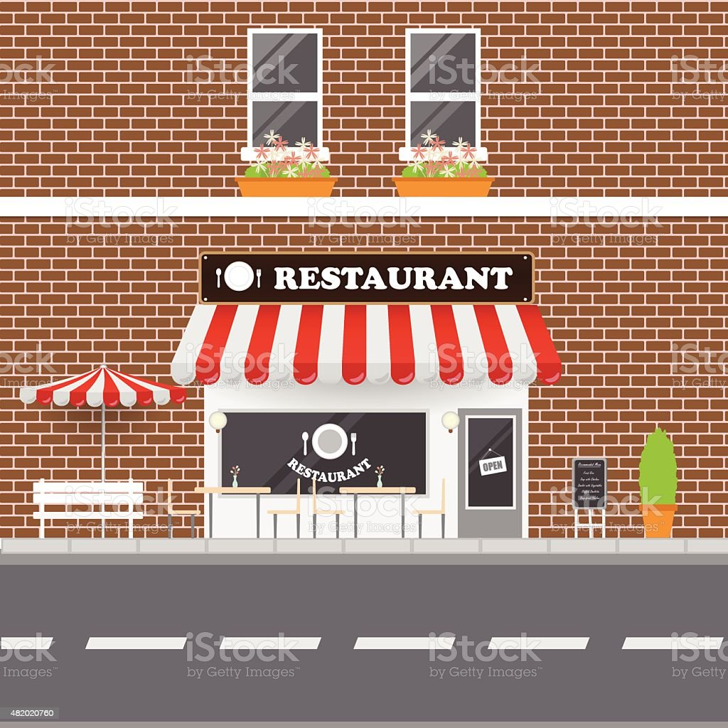 Restaurant  Facade vector art illustration
