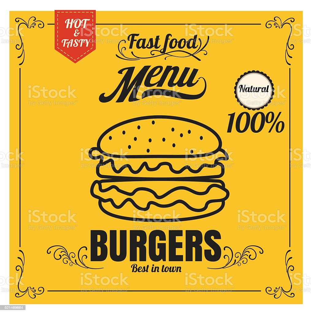 restaurant fast foods menu burger on yellow background vector fo
