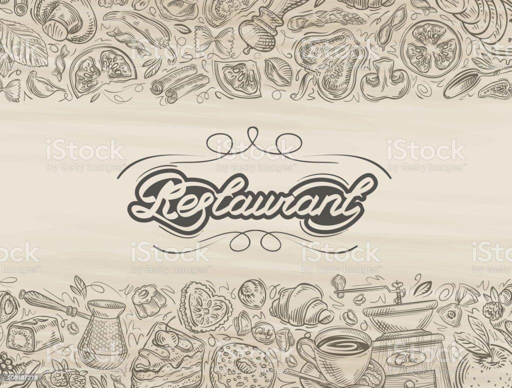 restaurant. food and drink hand drawn sketch vector art illustration