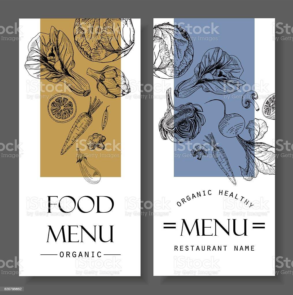 Restaurant food menu design vegetable organic healthy vector art illustration